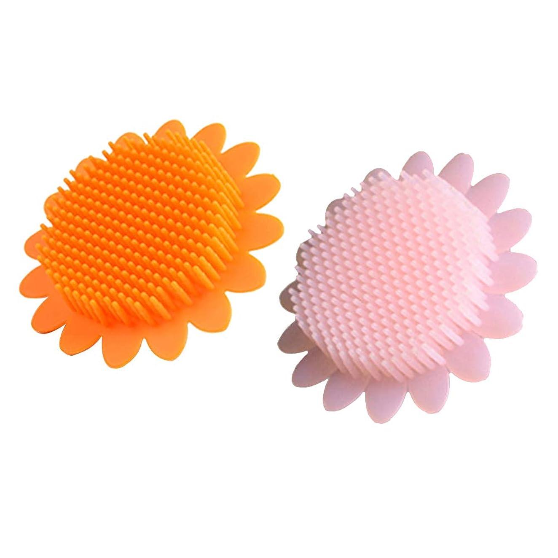 溶けた路面電車コンドームBeaupretty 2本の赤ちゃん風呂ブラシシリコーンボディブラシ頭皮マッサージブラシ赤ちゃんのためのシャンプーブラシ(オレンジ+ピンク)