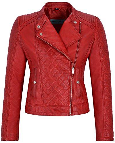 Smart Range Chaqueta de Cuero Real para Mujer Chaleco de Cuero Rojo con Forma de Diamante en Forma de Diamante