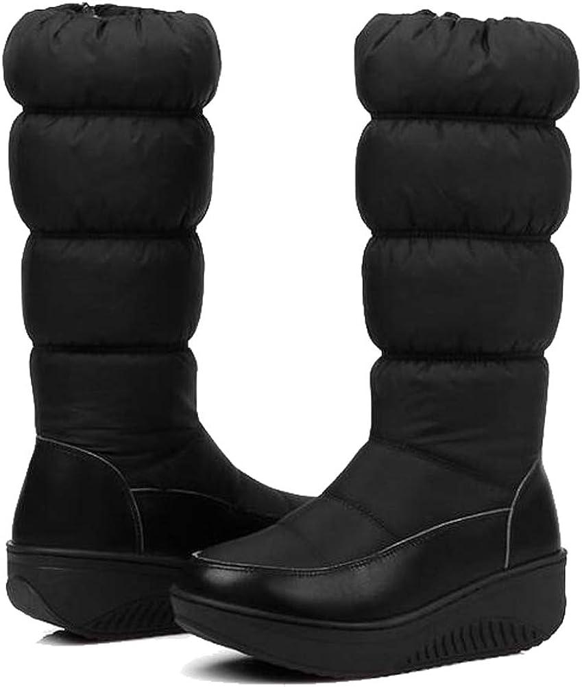 Getmorebeauty Women's Winter Fur Snow Boots Mid-Calf Warm Boots Waterproof Wedge Comfort Boots
