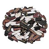 Oumezon 100 bottoni fatti a mano in legno naturale Hand Made Label fatti a mano bottoni in legno cucito fai da te decorazioni fatti a mano accessori cucito fai da te bottoni per cucito