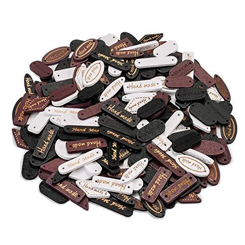 Oumezon 100 pcs Handmade knöpfe Naturholz Hand Made Label Handmade Holzknopf Nähen Basteln Dekorationen Handmade Kleidungszubehör Näharbeit DIY Buttons für Nähen Handwerk Brown Schwarz weiß