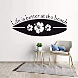Vinilo adhesivo de pared para tabla de surf con texto en inglés 'Life is Better at The Beach QUTE' AY1696
