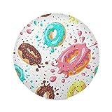 QMIN Juego de 1 manteles individuales redondos, con diseño de donuts esmaltados, resistentes al calor, antideslizantes, lavables para mesa de comedor, cocina, decoración del hogar