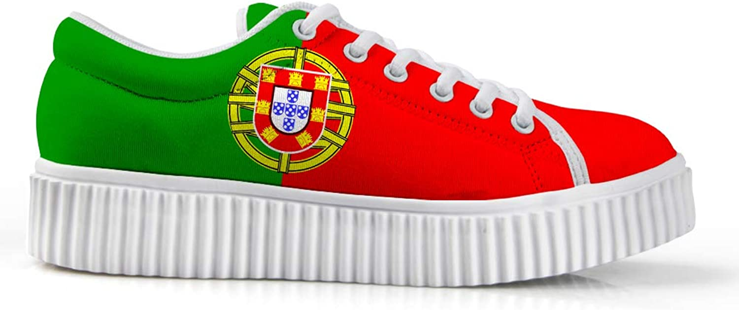 Owaheson Platform Lace up Sneaker Casual Chunky Walking shoes Low Top Women Portugal Flag