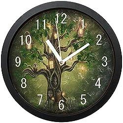 GeTJonesRiGhT Large Arabic Digital Quartz Movement Clock-Fantasy Forest Tree House Owl Bird Round Wall Clock Non Ticking Silent Clock Art for Living Room Kitchen Bedroom-size10in