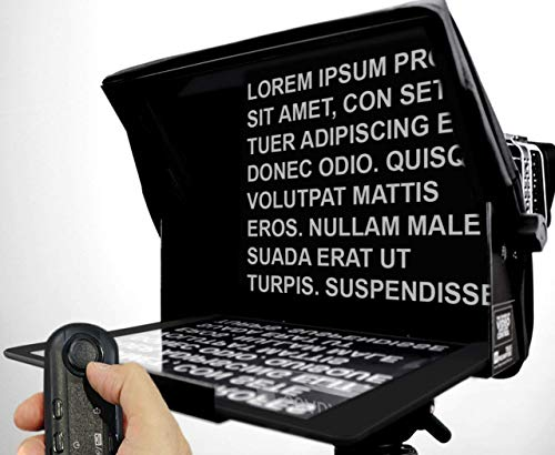TeleprompterPAD iLight PRO 13'' Big Screen - 100x100 Aluminum – iPad PRO/Android/Windows - Robust Professional - Multi Camera (DSLR and PRO Video) HD Beamsplitter Glass - High Quality - Made in EU