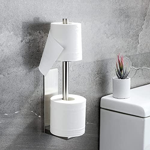 KROCEO Portarrollos de papel higiénico sin taladrar, 2 en 1, soporte para rollos de papel higiénico, de acero inoxidable brillante, para almacenamiento, autoadhesivo, color plateado