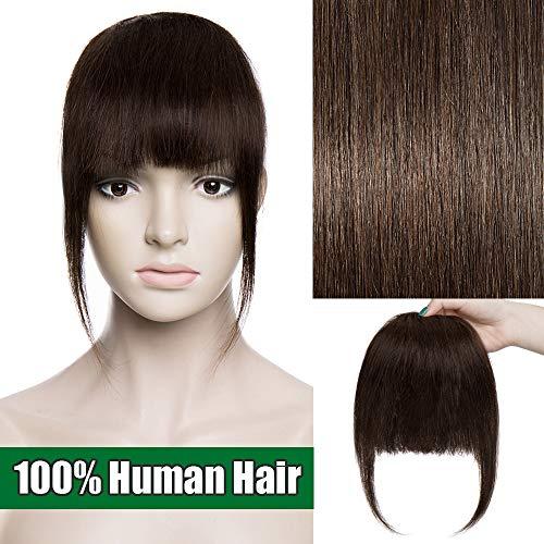 Frangia Clip Capelli Veri Frangetta Extension Capelli Veri Clip Fringe 100% Remy Human Hair Bang Lisci Naturali, 2 Marrone Scuro