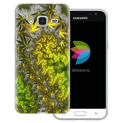 dessana Cannabis Marihuana - Cover trasparente per Samsung Galaxy J3 (2016), motivo marijuana