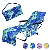 MIFXIN Beach Chair Cover Towel Lounge Chair Towel Cover with Side Storage Pockets Microfiber Terry Beach Towel for Pool Sun Lounger Sunbathing Vacation 82.5'x29.5' (Green)