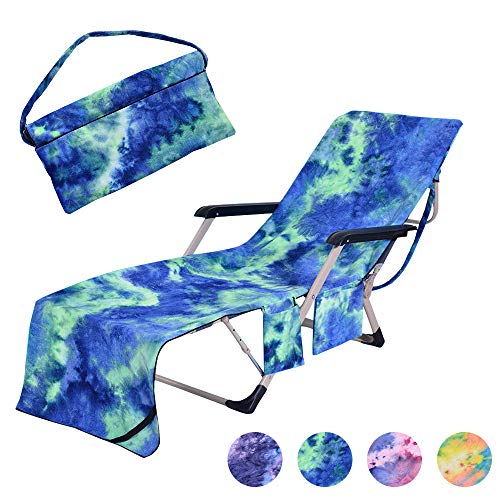 """MIFXIN Beach Chair Cover Towel Lounge Chair Towel Cover with Side Storage Pockets Microfiber Terry Beach Towel for Pool Sun Lounger Sunbathing Vacation 82.5""""x29.5"""" (Green)"""