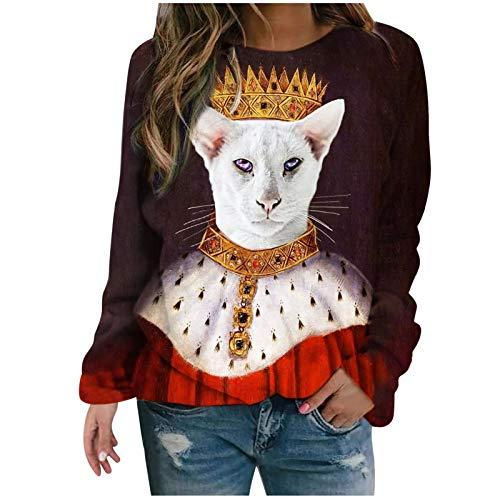 SOMESUN Damen Langarm Lose T-Shirt Weihnachtsdruck Katzendruck Langarm Hemd Shirt...