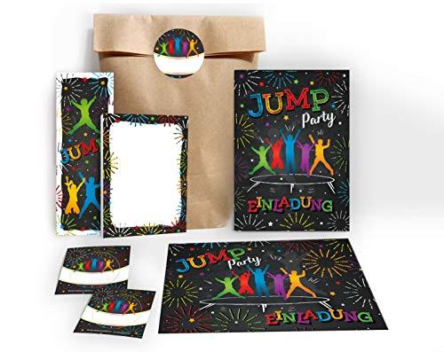 JuNa-Experten 6 Einladungskarten Kindergeburtstag Jump Trampolin Mädchen Junge incl. 6 Umschläge, 6 Tüten / Natur, 6 Aufkleber, 6 Lesezeichen, 6 Blöcke