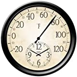 Springfield Precision Instruments Decorative 14-Inch Patio Thermometer with Clock