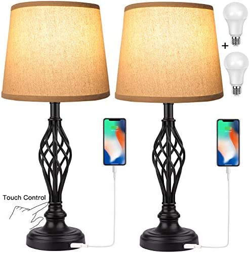 Touch Control Traditional Table Lamp Set of 2 Vintage Bedside Lamps with USB Charging Port 3 product image