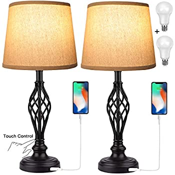 Touch Control Traditional Table Lamp Set of 2 Vintage Bedside Lamps with USB Charging Port 3-Way Dimmable Large Cream Drum Shade Spiral Cage Base Desk Lamps for Living Room Bedroom by PARTPHONER