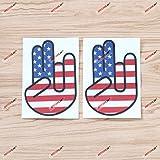 2X Reflective 4'' Shocker Hand USA American Flag Decal Sticker Car Vinyl