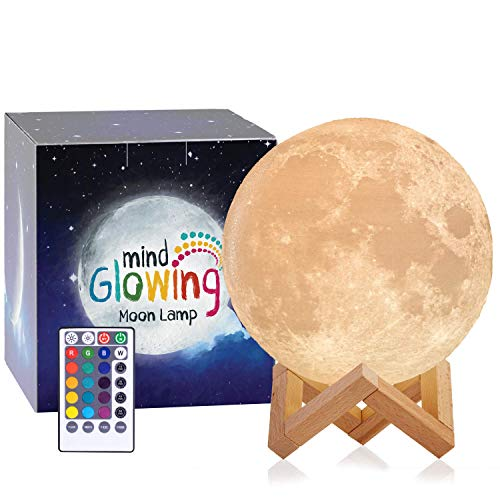Mind-glowing 3D Moon Lamp - 16 LED Colors, Dimmable, Rechargeable Night Light (X-Large, 7.1in) with Wooden Stand, Remote & Touch Control - Nursery Decor for Your Baby, Birthday Gift Idea for Women