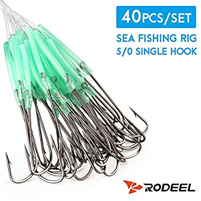 Rodeel 40 PCS Ready Rigs High Carbon Steel Fishing Hooks Pre Tied for Sea Fishing Pulley or Flapper Rigs soond quick replacement