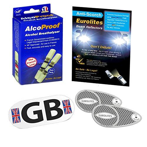 Eurolites Euro Convertisseurs de faisceau pour phare + alcoproof Lot de 2 + Plaque aimantée GB