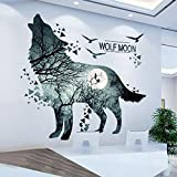 QIAO Removable Ink Moon Wolf Wall Decor Creative Blue Galaxy Wolf Room Wall Sticker Easy Peel & Stick Home Decor Murals for Kids Teen Girls Bedroom Nursery Ceiling Living Room