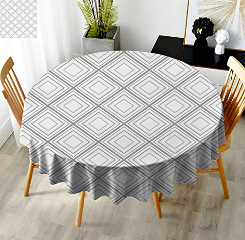 Daniohome Geometric Decor 43' Round Tablecloths, Minimalist Repeating Diamond and Square Form Simplistic Artful Design Circle Spillproof Tablecloth for Buffet Kitchen Light Grey White