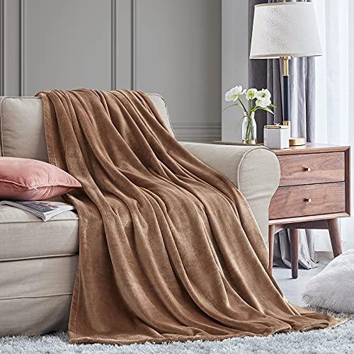 EHEYCIGA Manta Sofa Mantas para Sofa Camello 130x165 cm Microfibra Suave Acogedora Manta de Lujo para la Cama