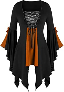 aihihe Women Halloween Gothic Witch Costume Tops Plus Size Sexy Lace Up Patchwork T Shirt Dress Tunic Blouses Cosplay