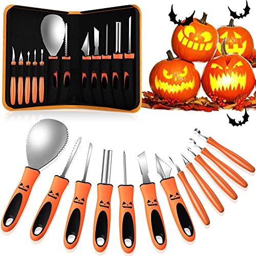 M8C Halloween Pumpkin Carving Kit, 13 PCS Professional Heavy Duty Stainless Steel Pumpkin Carving Tools with Carrying Case for Kids Adults Sculpting Jack-O-Lanterns
