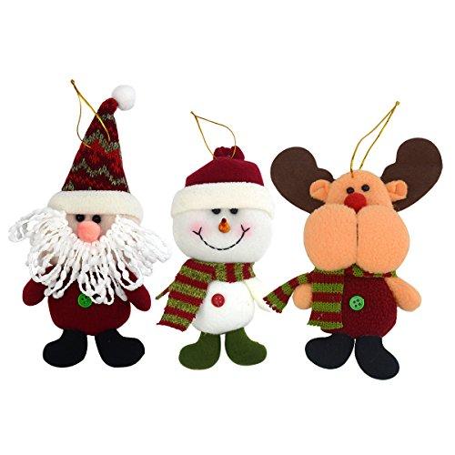 Lot de 3 Décoration de Noël 20,3 cm Nouvel An Ornement de Noël à suspendre Père Noël Bonhomme de neige Cerf rouge vin