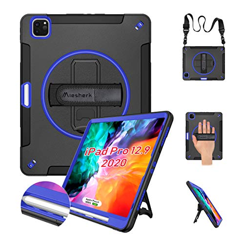 Miesherk iPad Pro 12.9 Case 2020 & 2018 with Pencil Holder[Support Pencil Charging], Heavy Duty Shockproof Cover with Stand+Shoulder/Hand Strap for iPad Pro 12.9'' 4th Gen 2020 / 3rd Gen 2018, Blue