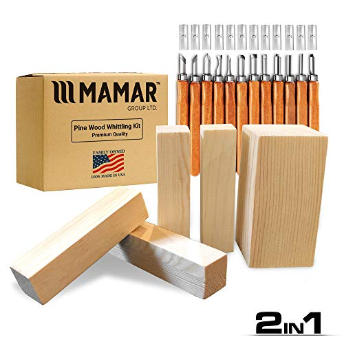 MAMAR Pine Wood Carving Whittling Kit - 12 Piece SK10 Carbon Steel Tools and 5 Large Wood Blocks Bundle - Whittlers Pick - Preferred Choice for Adults and Kids - Great Learning Set for Beginner or Pro