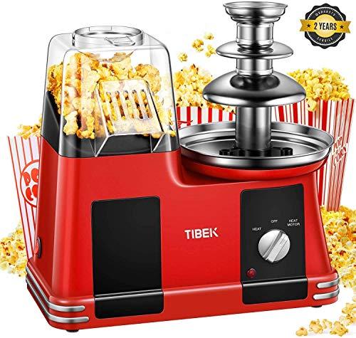Tibek Máquina para Pop Corn, de aire caliente, Popcorn, máquinas sin aceite y grasas, 1200 W con olla antiadherente, medidor y boca ancha, incluye fuente de chocolate
