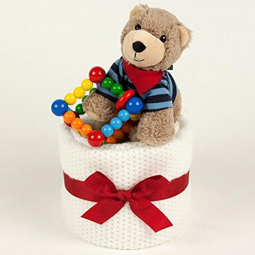 ギフトセット おもちゃケーキ 出産祝いに くまのぬいぐるみと木のおもちゃのケーキ (ホワイト)