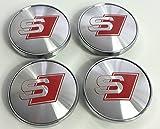 Set von 4Audi Leichtmetallrad Badges Central Radkappen grau chrom silber rot S Line Logo 60mm S3S4A2A3A4A6A8TT RS4Q5Q7, S6RS6TT und weitere Modelle