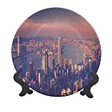 Plato decorativo de cerámica de 15,24 cm, diseño de ciudad china de Hong Kong, diseño de escena urbana Victoria Harbor, para eventos de lujo, cenas, bodas, etc.