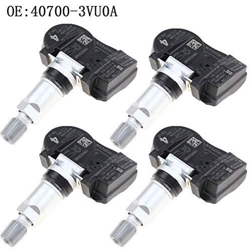 Sensor de presión de neumáticos 4PCS presión de neumático Sensor for Nota Qashqai TIIDA Hatchback X-T Renault Espace V KOLEOS 40700-3VU0A 407003VU0A para inspección de neumáticos (Color : Black)