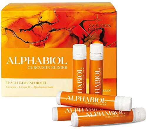 alphabiol Curcumin Elixier | Curcuma und Vitamin D Trinkampullen | Gegen entzündliche Prozesse im Körper | 4-Wochen Kur (28 Trinkampullen)