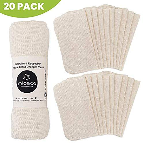 Reusable Unpaper Towels Washable - Bamboo Nature Friendly Paper Towels Organic Cotton - Thick, Strong, Paperless Kitchen Roll - Reusable Napkins - Zero Waste - 20 Pack