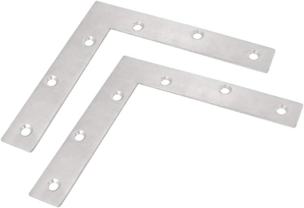 BTMB 2 Pcs Stainless Steel L Shape Corner Brace Furniture Flat R