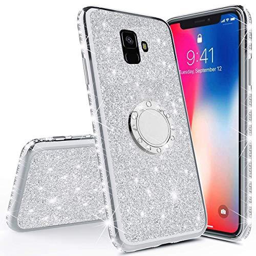 Karomenic Silikon Hülle kompatibel mit Samsung Galaxy A6 Plus 2018 Glänzend Bling Glitzer Schutzhülle Weiche TPU Handyhülle mit Ring 360 Grad Ständer Diamant Tasche Hülle für Frauen Mädchen,Silber