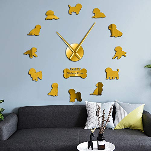 RRBOI Reloj de Pared con Espejo 3D Reloj de Movimiento silencioso sin tictac Tenerife Reloj de Pared Rizado Bichon (Dorado)-47inch
