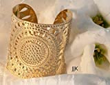 Gold Cuff Jewelry, Modern Jewelry, Henna Design Bracelet, Statement Cuff, Hammered Gold Cuff Packaged and Ready for Gift Giving, Handmade in Israel
