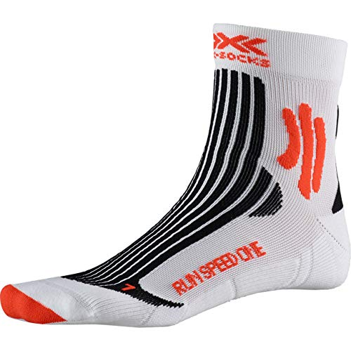 X-SOCKS Run Speed One Chaussette Mixte Adulte, Arctic White/Sunset Orange, FR : XL (Taille Fabricant : 45-47)