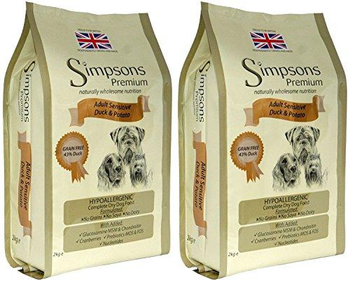 2x 12kg Simpsons Premium Erwachsene Sensitive Ente und Kartoffel Trockenfutter für Hunde AVSL Bügelkopfhörer
