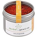 Zauber der Gewürze Chiliflocken - Chili geschrotet, scharfe Chili Flakes ohne Kerne zum vielfältigen Würzen, in Top-Qualität und wiederverschließbarer Aroma-Dose, 45 g