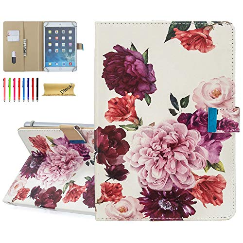 8.0 Inch Universal Case - Dteck Protective Leather Wallet Flip Cover with Card Slots for Fire 8/ Samsung Tab 8' /Lenovo 8.0 /Dragon Touch 8.0 /ASUS ZenPad 8/8.0 Android Tablet (Purple Pink Flower)