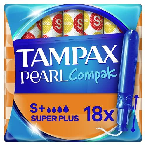 Tampax Pearl Compak Tampón Super Plus con Aplicador, 18 Unidades