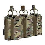 IDOGEAR Triple Mag Pouches Kangaroo Magazine Pouch for 5.56mm Rifle Magazines and 9mm Pistol Magazines Universal MOLLE Tactical Pouches Elastic Adjustable (Multicam)