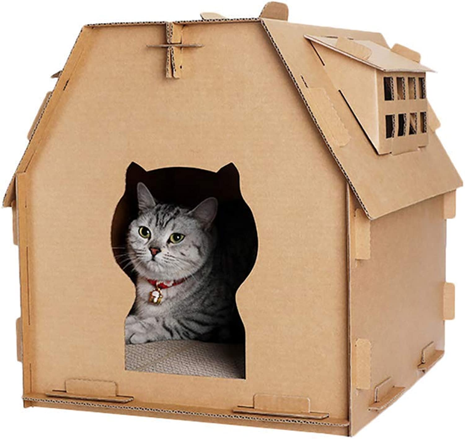 Cat House Corrugated Paper Room Comfortable Large Space Wearable Indoor Cat Recyclable Carton